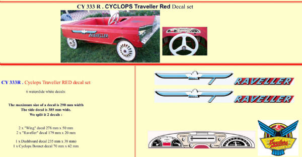 CY333R Cyclops Traveller RED Pedal Car decal set